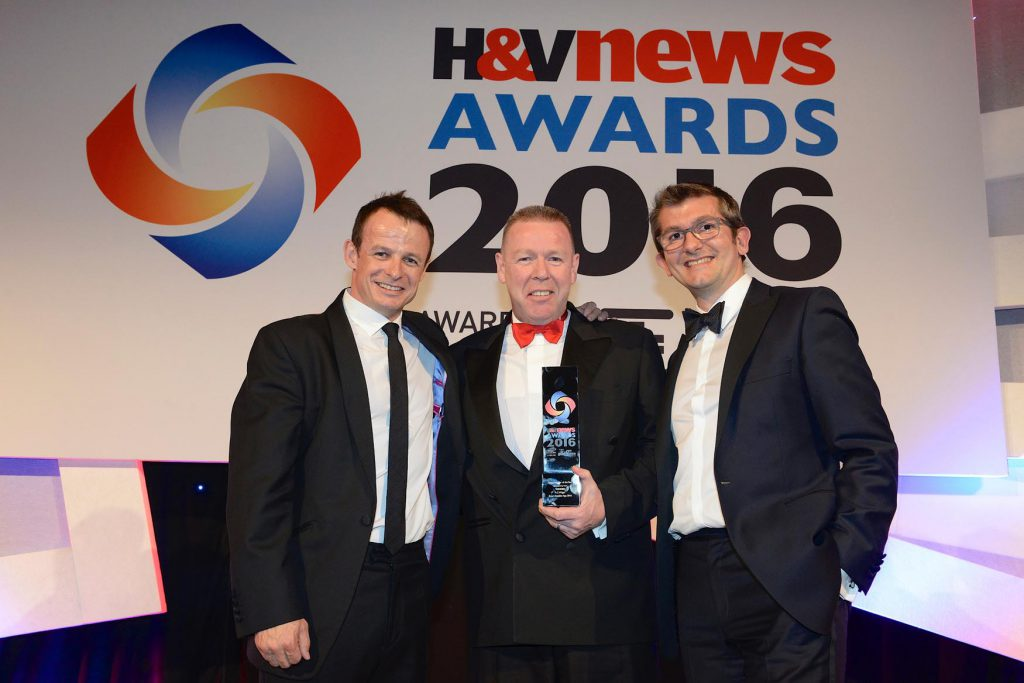 "A.C. Wilgar WINS ""Smart installer"" of the year at H&V News Awards 2016 with Billy Wilgar and Austin Healey"